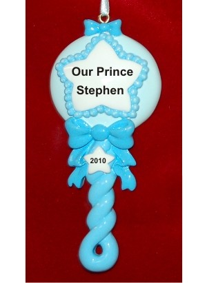 Blue Baby Rattle Christmas Ornament Personalized by Russell Rhodes
