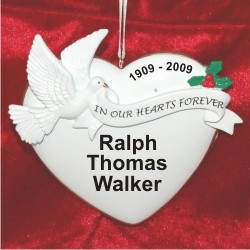 Memorial Heart of Remembrance Christmas Ornament