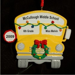 Wheels on the Bus Go Round and Round Personalized Christmas Ornament
