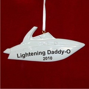 Speed Boat Personalized Christmas Ornament