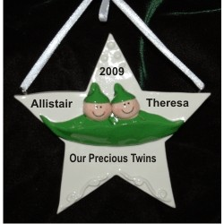 Two Peas in a Pod, Twins Christmas Ornament Personalized by Russell Rhodes