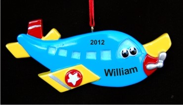 Airplane Toy Christmas Ornament Personalized by Russell Rhodes
