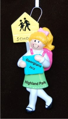Blond School Girl Christmas Ornament Personalized by Russell Rhodes