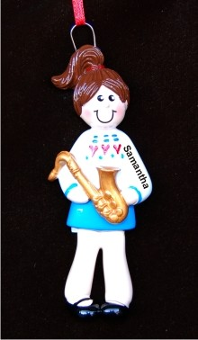 Saxophone Girl Personalized Christmas Ornament
