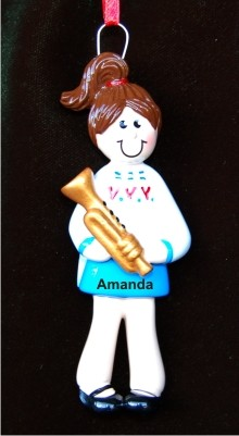 Trumpet Girl Christmas Ornament Personalized by Russell Rhodes