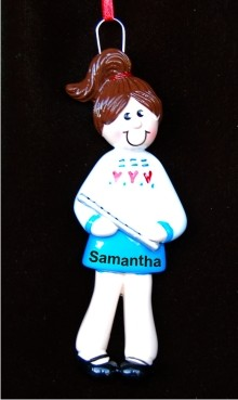 Flute Girl Christmas Ornament Personalized by Russell Rhodes