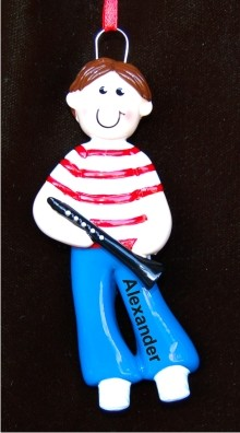 Clarinet Boy Personalized Christmas Ornament
