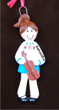 Violin Girl Christmas Ornament Personalized by Russell Rhodes