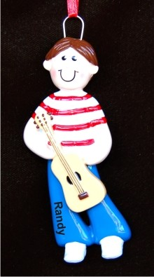 Guitar Boy Personalized Christmas Ornament