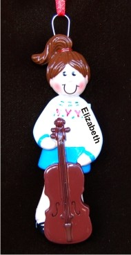 Cello Girl Christmas Ornament