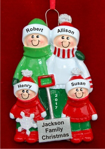 Winter fun family of 4 hand personalized christmas for Family of 4 christmas ornament