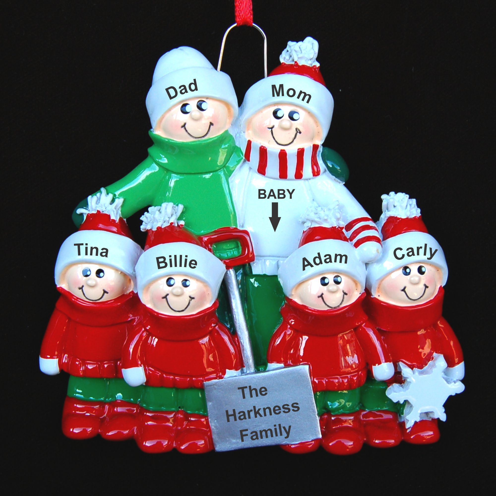 Personalized Fun in the Snow Expecting Christmas Ornament for 6 by Russell Rhodes
