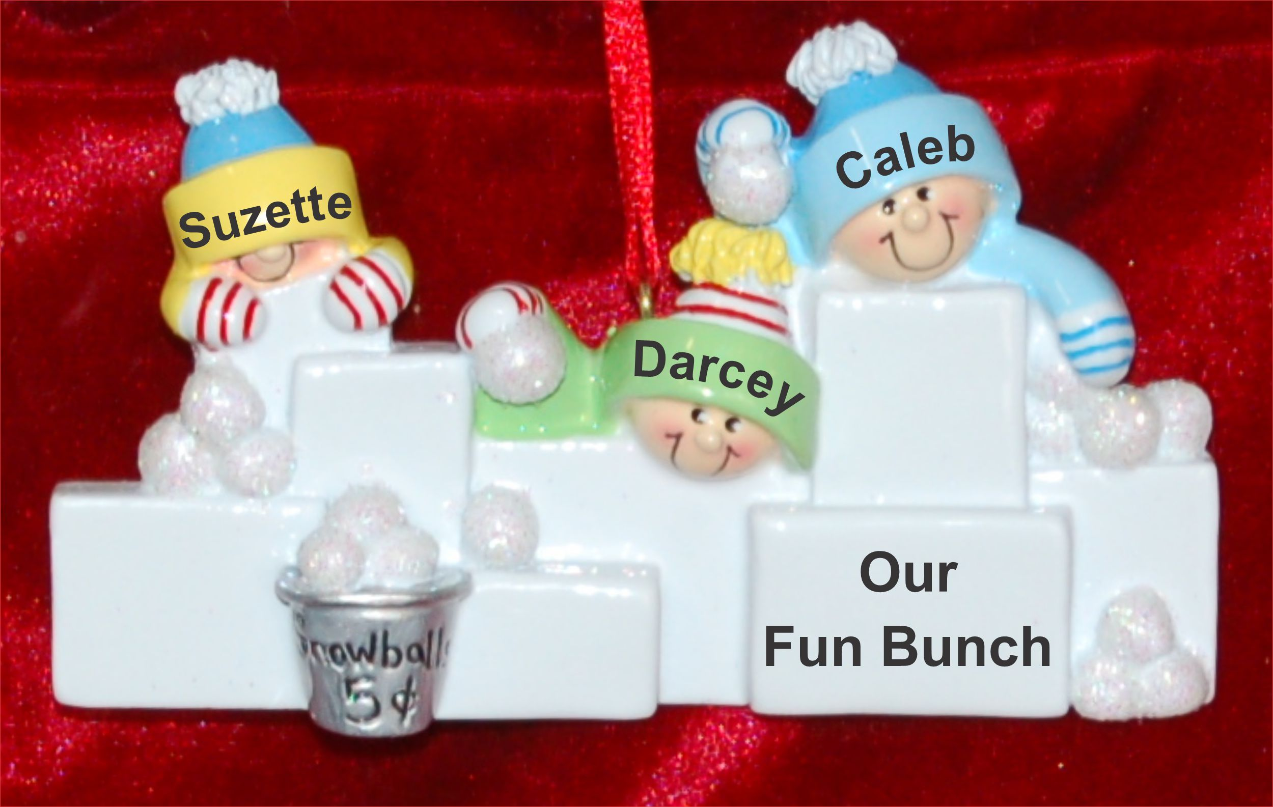 Personalized Family Christmas Ornament Snowball Fun Just the 3 Kids Personalized by Russell Rhodes
