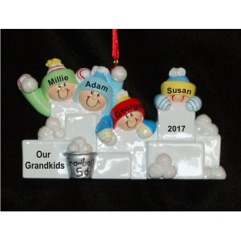 4 Grandkids Fun in the Snow Personalized Christmas Ornament