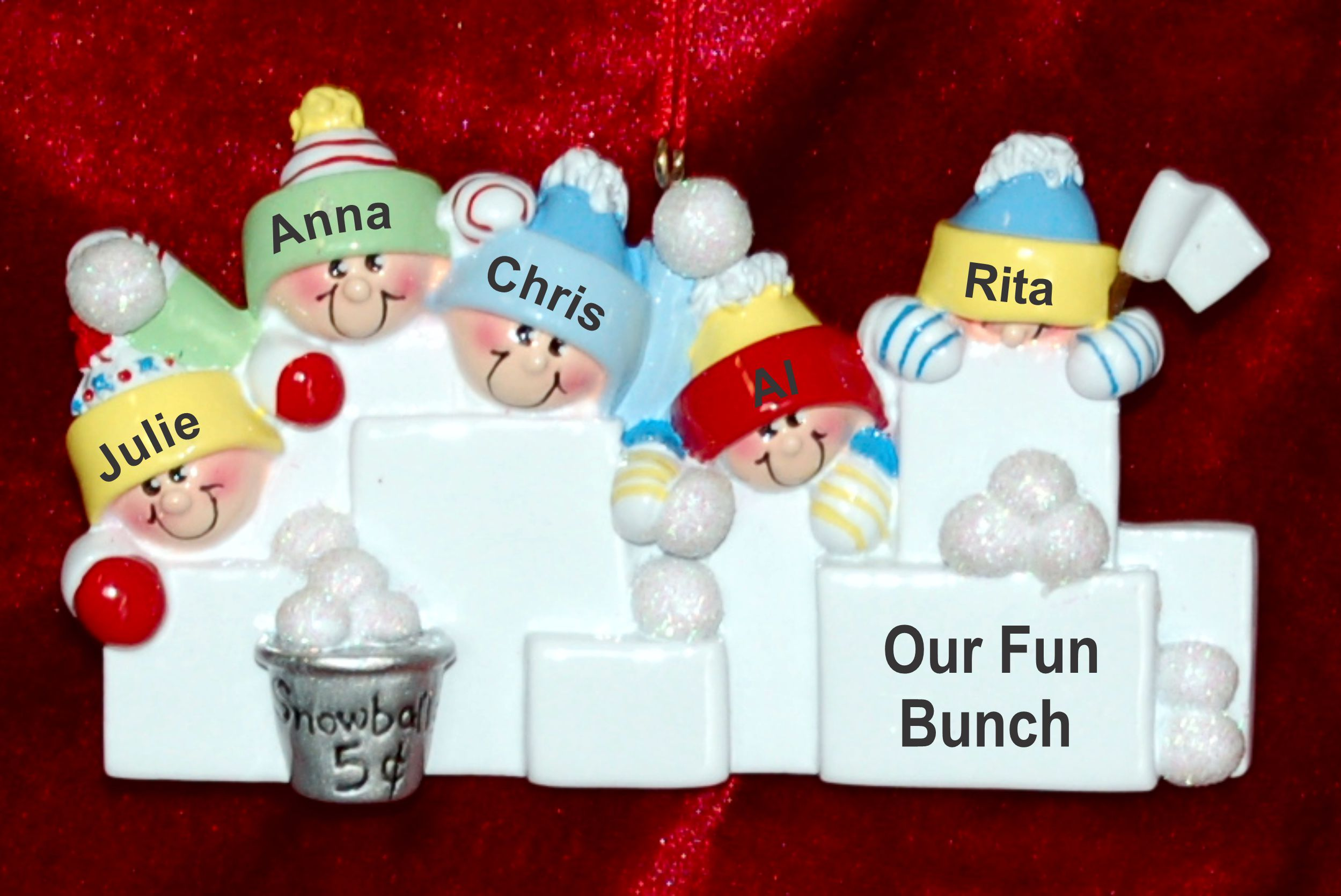 Personalized Family Christmas Ornament Snowball Fun Just the 5 Kids Personalized by Russell Rhodes