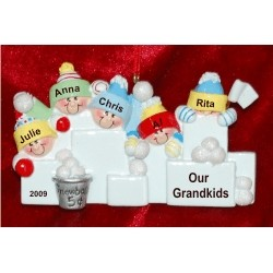 5 Grandkids Fun in the Snow Christmas Ornament