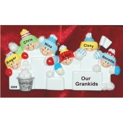 6 Grandkids Fun in the Snow Christmas Ornament