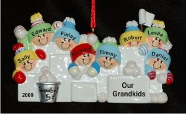 8 Grandkids Fun in the Snow Christmas Ornament