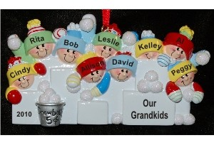 Fun in the Snow - 9 Grandkids Personalized Christmas Ornament