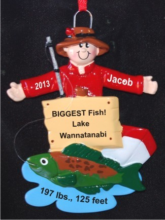BIGGEST Fish, Best Fish Story Christmas Ornament Personalized