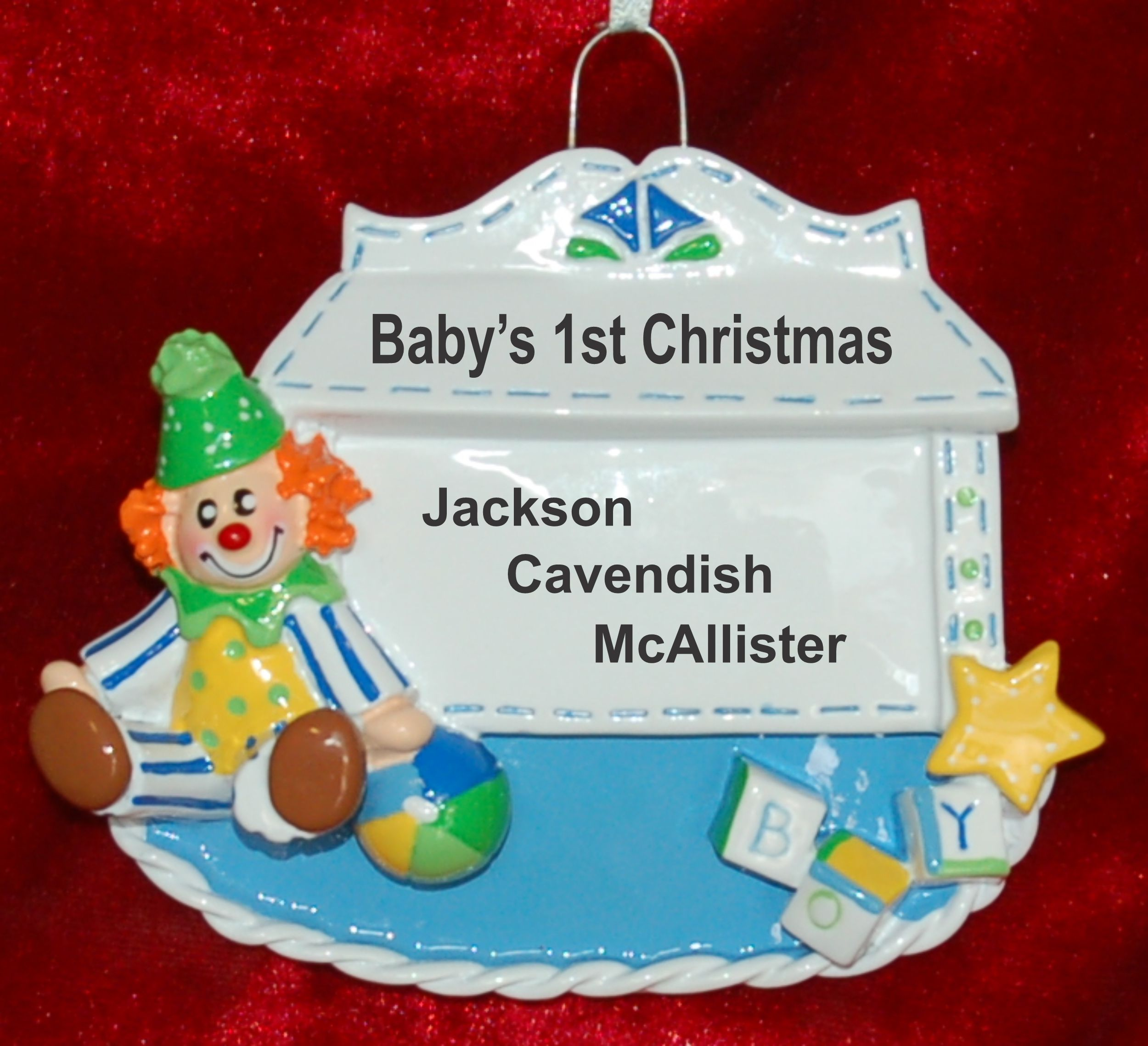 Personalized Baby Boy Christmas Ornament Toy Box Blue Personalized by Russell Rhodes