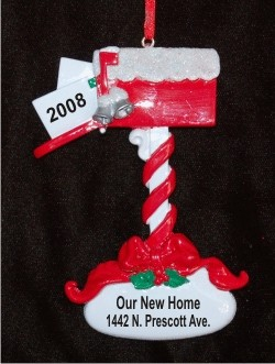 Red Mailbox Welcome Home Ornament Personalized Christmas Ornament