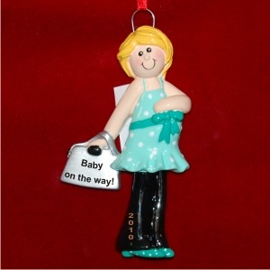 Blonde Hair Pregnant Personalized Christmas Ornament