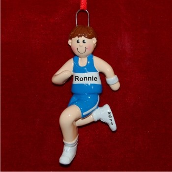 Male Brunette Running Personalized Christmas Ornament
