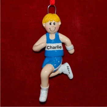 Male Blond Running Christmas Ornament
