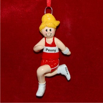Female Blond Running Personalized Christmas Ornament