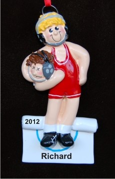 Blond Boy Wrestler Christmas Ornament