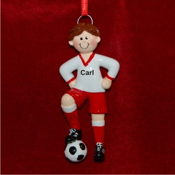 Male Brunette Soccer Christmas Ornament