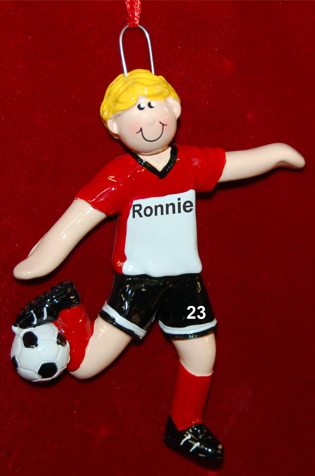 Personalized Soccer Christmas Ornament Male Blond by Russell Rhodes