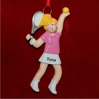 Female Blond Tennis Personalized Christmas Ornament