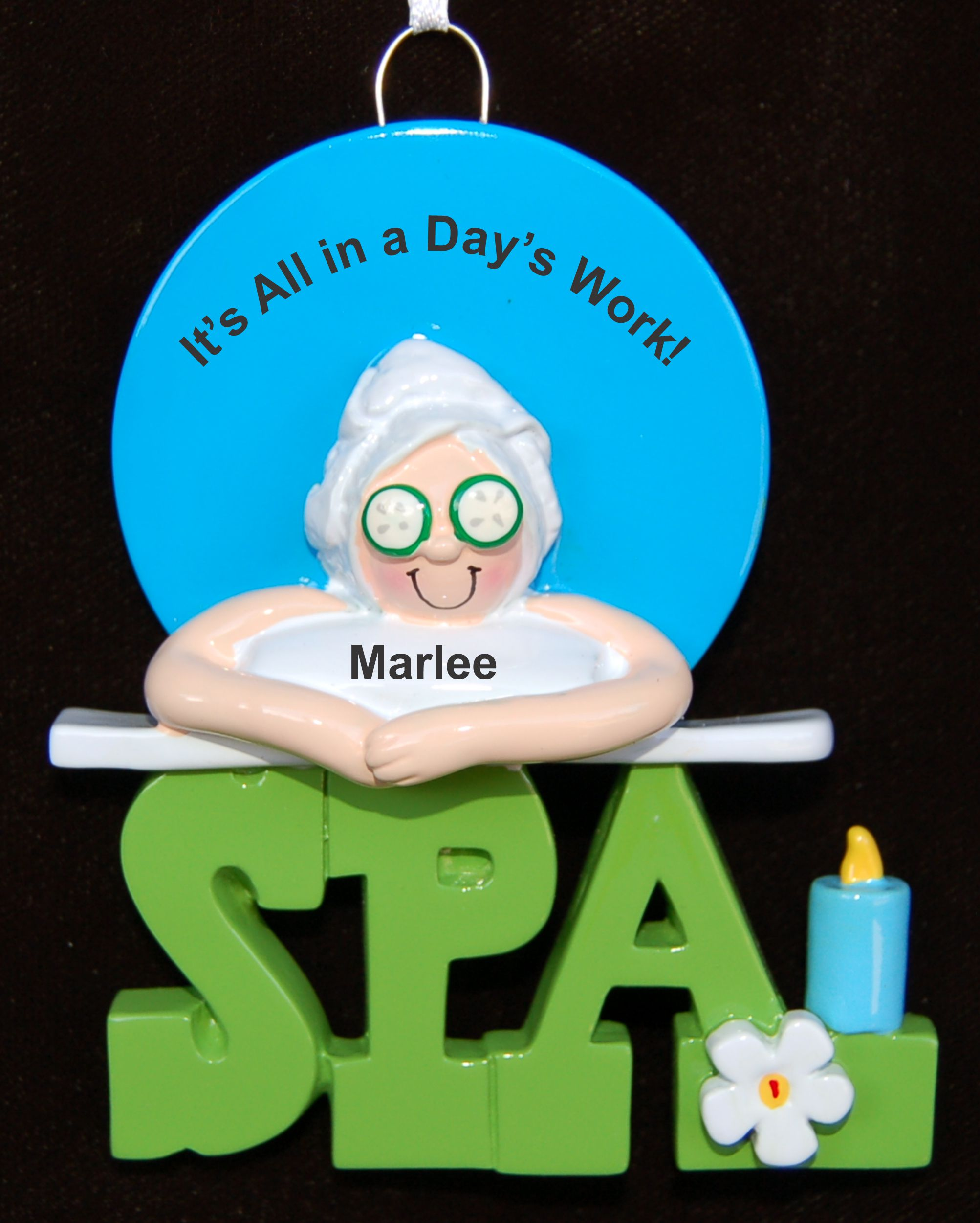 Personalized Spa Christmas Ornament Female by Russell Rhodes