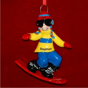 Boy on Snowboard Personalized Christmas Ornament