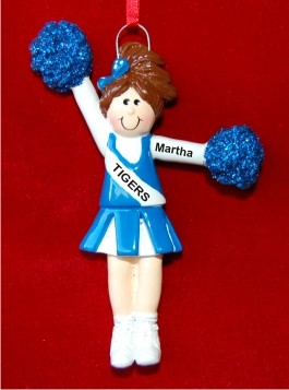 Brunette Girl with Blue Pom Poms Personalized Christmas Ornament