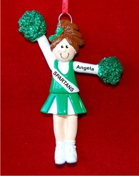 Brunette Girl with Green Pom Poms Personalized Christmas Ornament