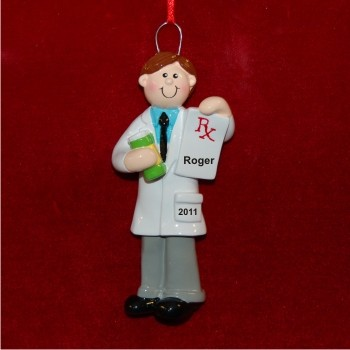 Male Pharmacist Personalized Christmas Ornament
