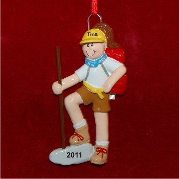 Girl Hiker Personalized Christmas Ornament