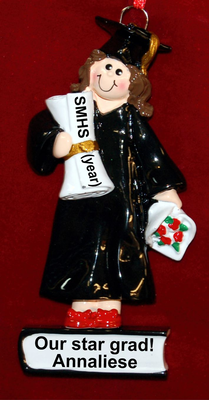 High School Graduation Christmas Ornament Female Brunette Personalized FREE by Russell Rhodes