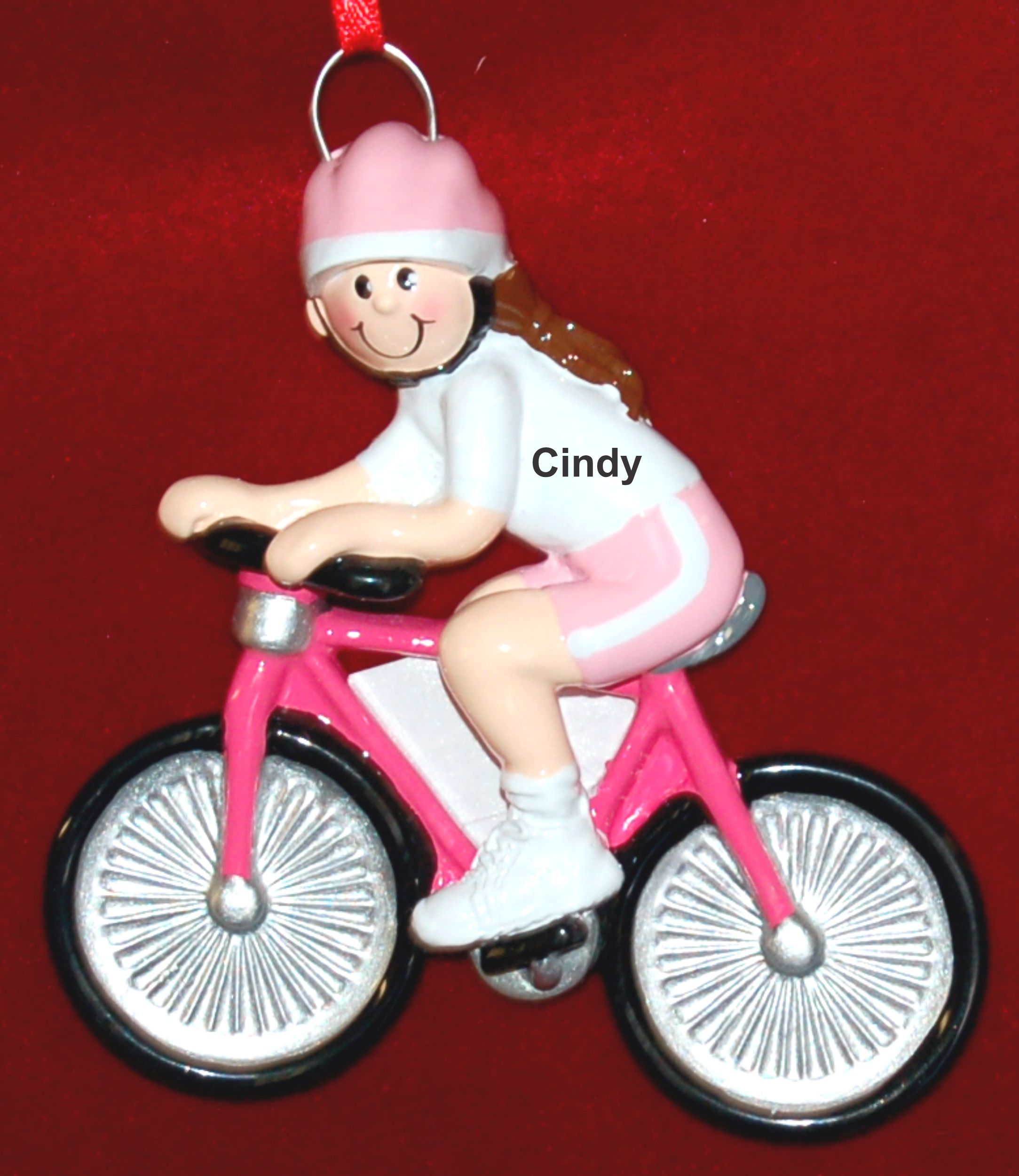 Personalized Bike Christmas Ornament Cyclist Female by Russell Rhodes