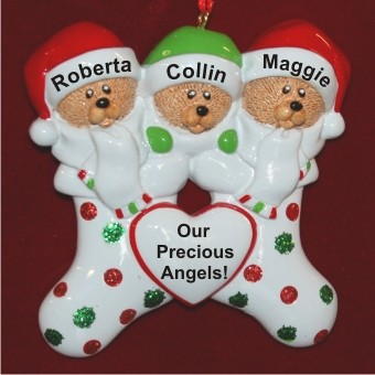 Triplets in Christmas Stockings Personalized Christmas Ornament