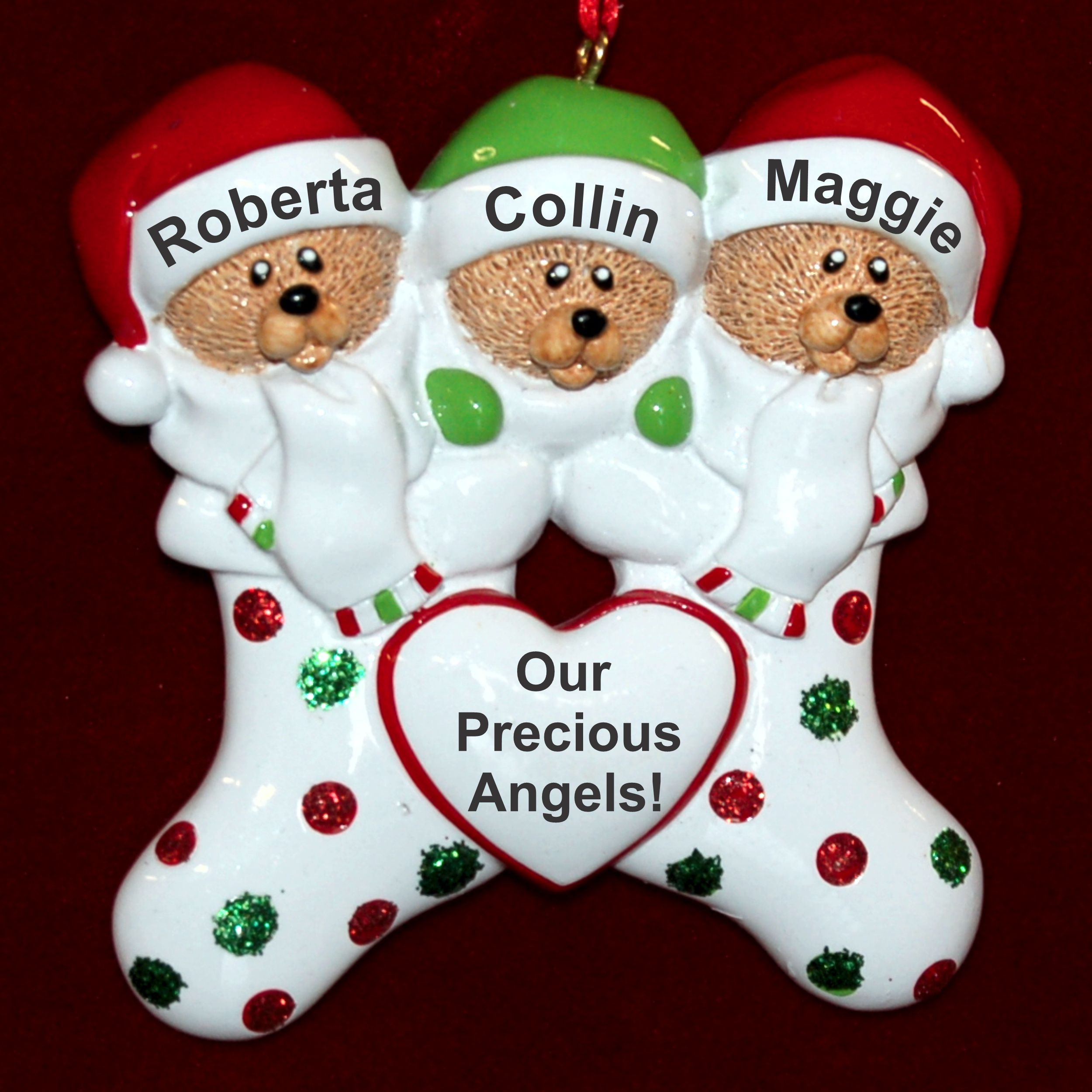 Personalized Our 3 Grandchildren Christmas Ornament Stocking Cute by Russell Rhodes