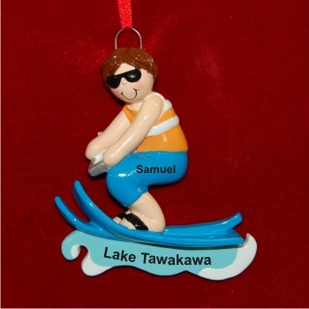 Boy Water Skiing Personalized Christmas Ornament