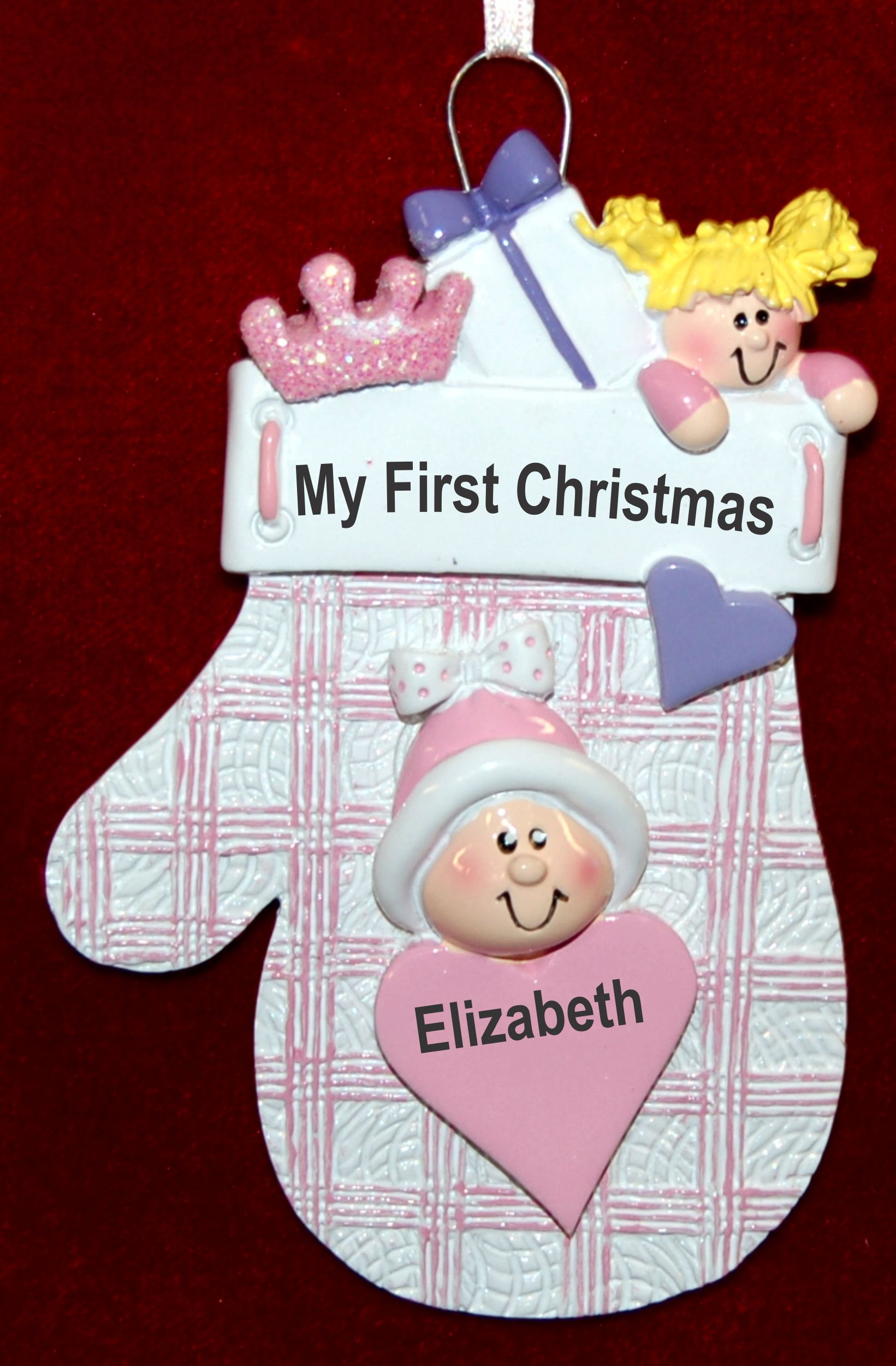 Personalized Baby Girl Christmas Ornament Baby Pink Mitten by Russell Rhodes