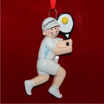Boy Tennis Personalized Christmas Ornament
