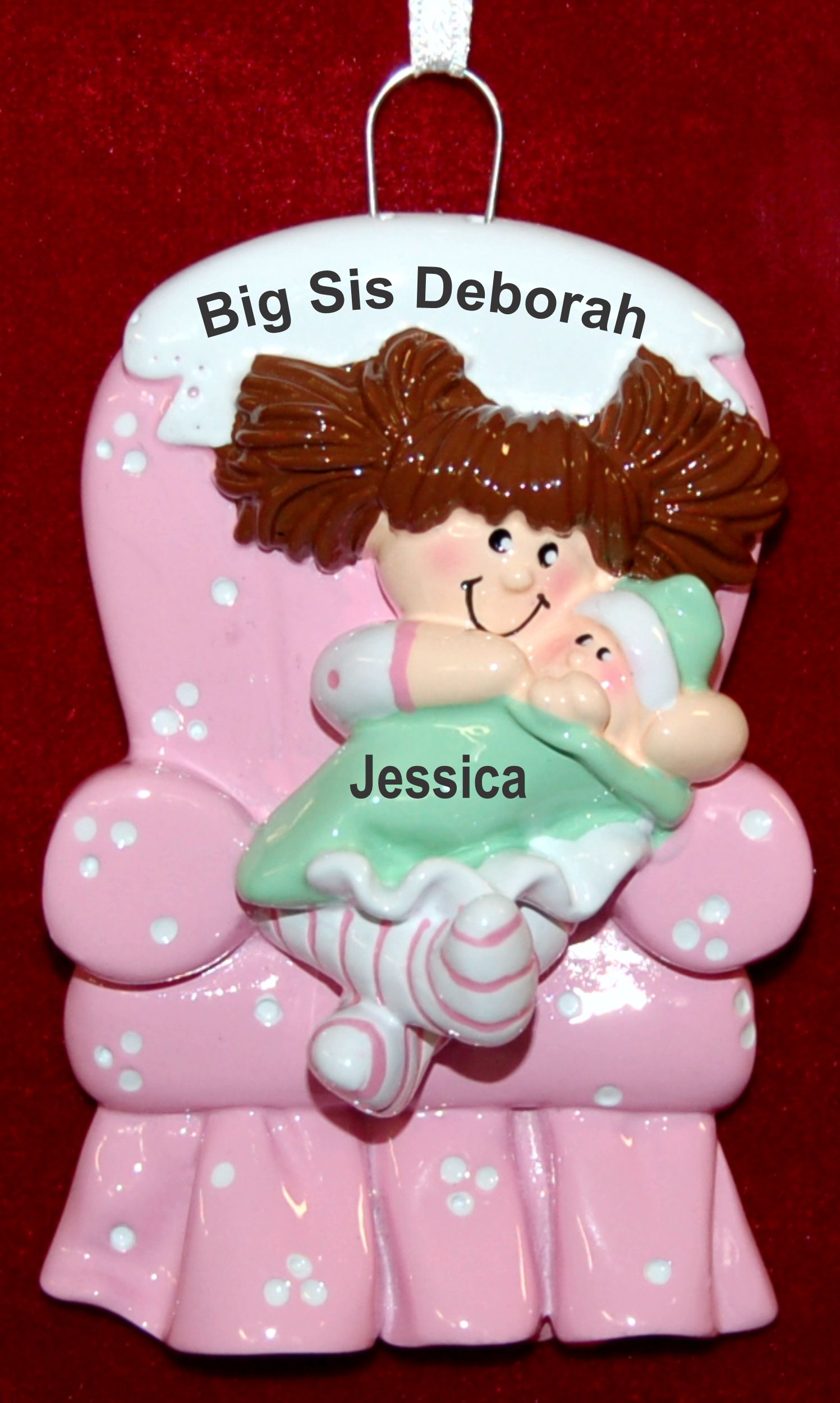 Personalized Big Sister Christmas Ornament Big Girl Chair Brunette by Russell Rhodes
