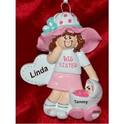 Big Sister, Brown Hair Personalized Christmas Ornament