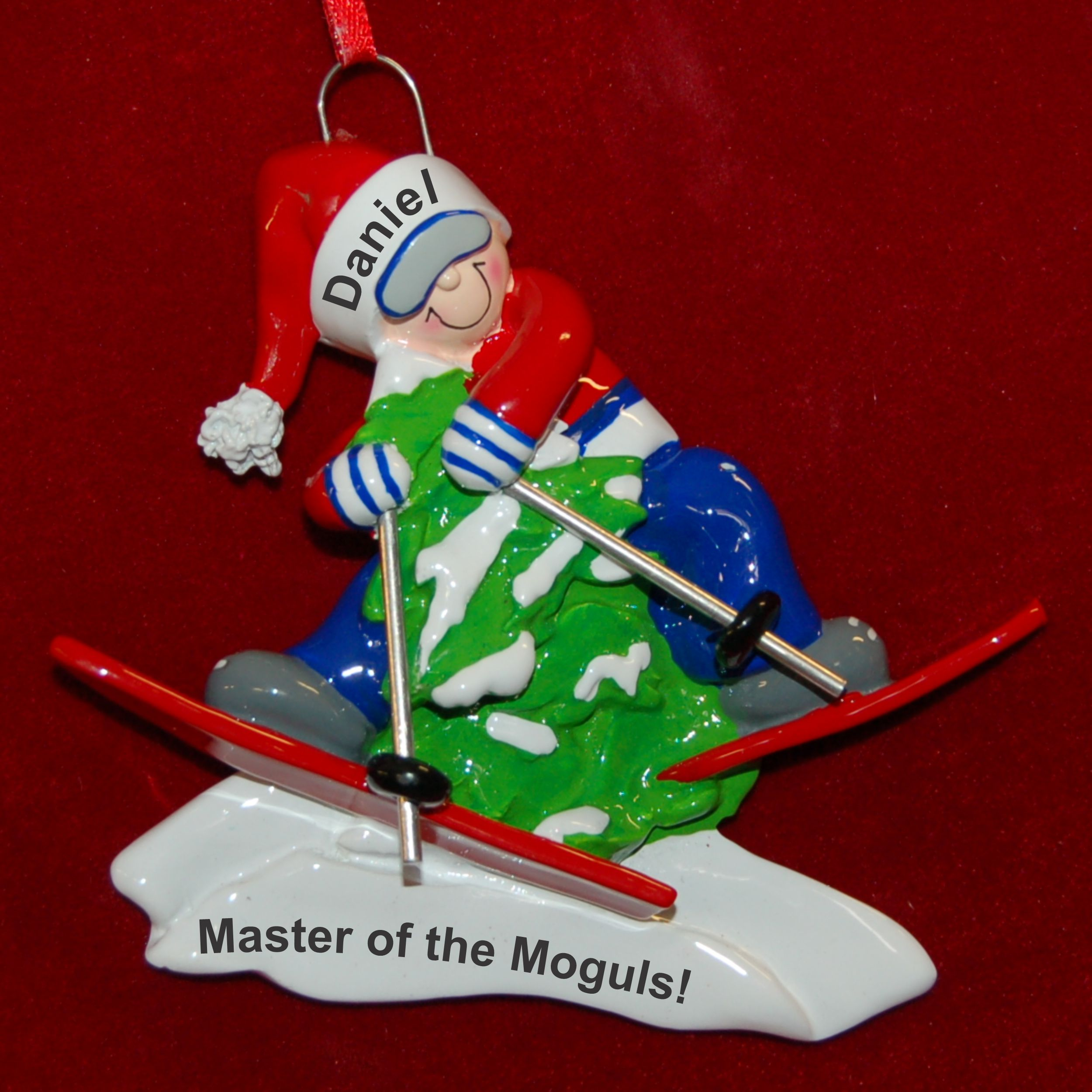 Personalized Snow Skiing Christmas Ornament Mogul Master by Russell Rhodes